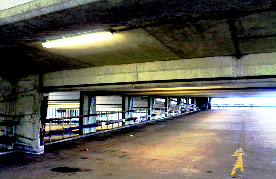 Car Park 5, Bracknell: this picture shows the lights still on inside Car Park 5, though the building is completely deserted