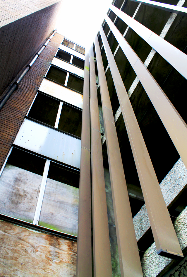 Car Park 5, Bracknell: a view of the metal blinds running down the building